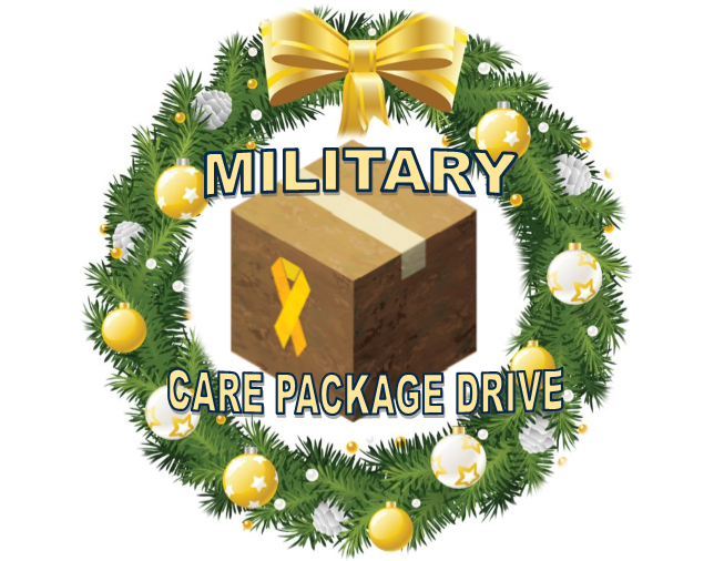 Graphic ad for the FC Military Care Package Drive