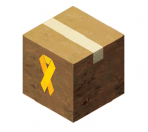 Graphic of a box for shipping with a rellow ribbon on it