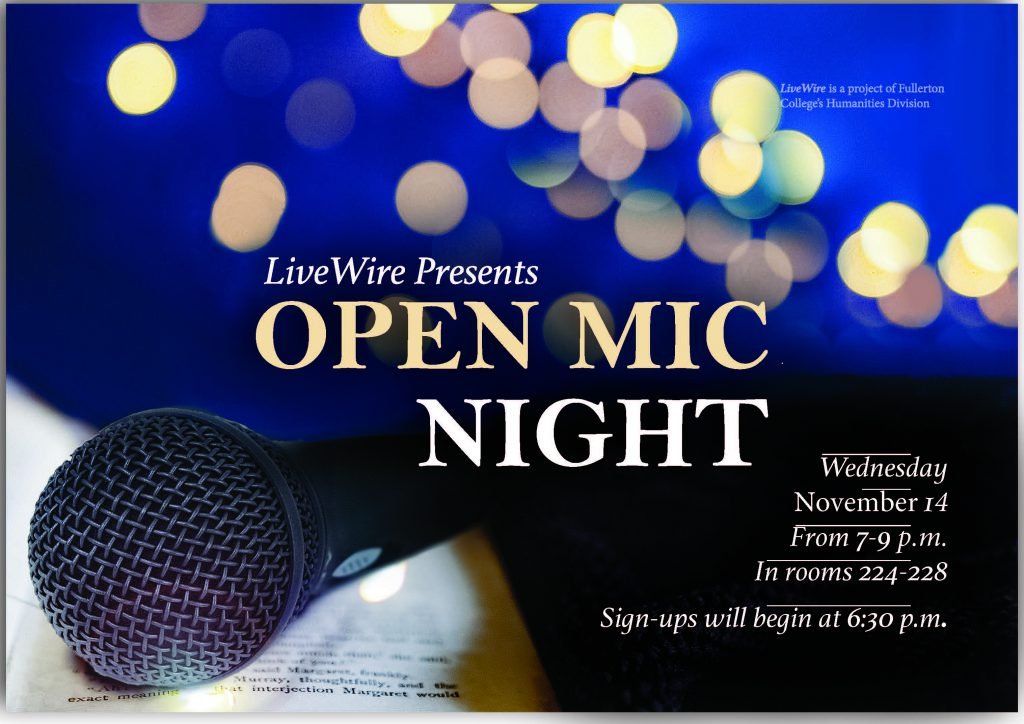 Flyer for open mic night
