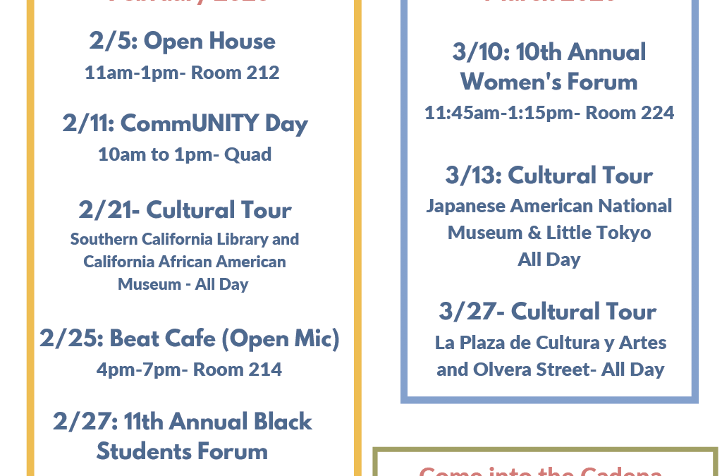 Cadena Spring 2020 Calendar of Events