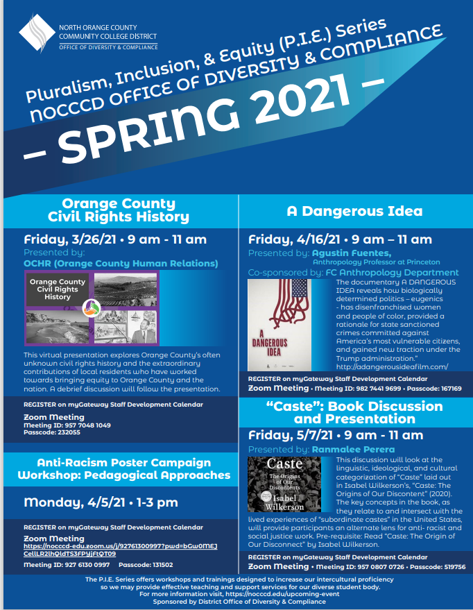 Pluralism, Inclusion, and Equity Series Spring 2021 event flyer